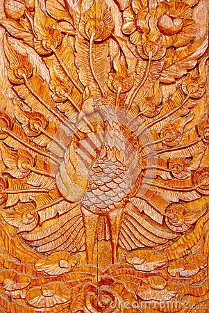 Wood Peacock Carving Royalty Free Stock Image Image