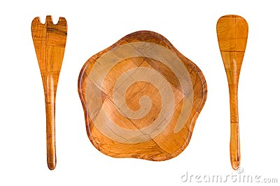 Wood plate, spoon and fork