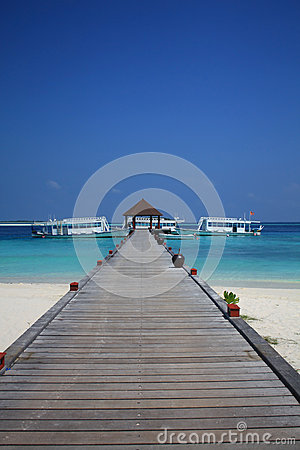 A wood pontoon in the Maldives Editorial Stock Image