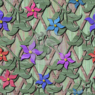 Wood seamless texture with 3d flowers Stock Photo