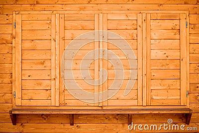 Wood shelf and shutters