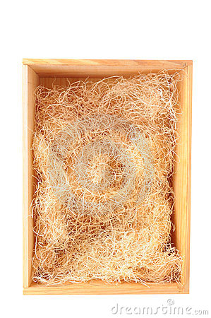 Wood Shipping Box With Straw