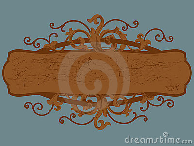 Wood sign cartouche