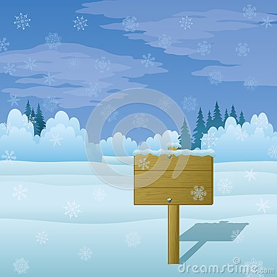 Wood sign on winter landscape