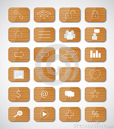 Wood social button