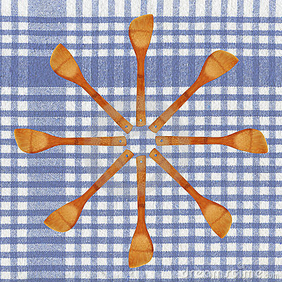 Wood spoon and tablecloth