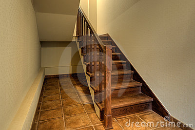 Wood stairs in new home