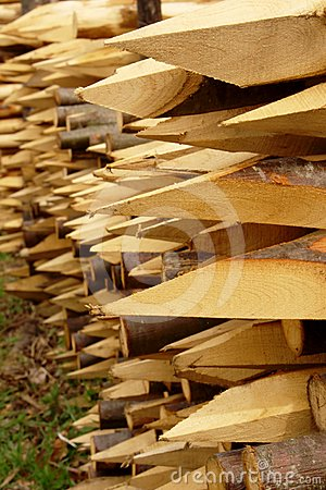 Wood stakes with sharp edge