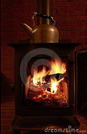 Wood Stove and Kettle