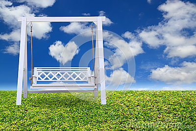 Wood swing chair with beautiful cloud