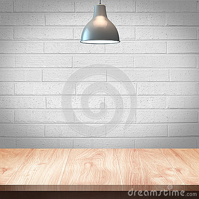 Free Wood Table With Lamp And Brick Wall Background Stock Photo - 53898830