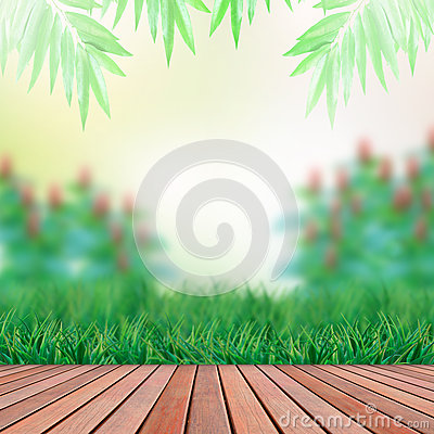 Wood terrace and green garden backgroundwood terra