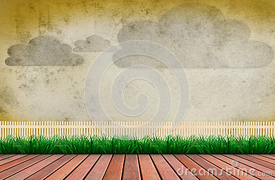 Wood terrace and wooden fence cloud on wall