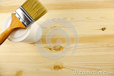 Wood texture and tin, paintbrush