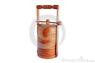 Wood tiffin isolated