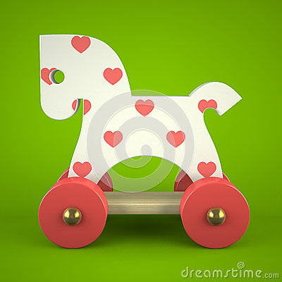 Free Wood Toy Horse On Green Background Stock Images - 34694874