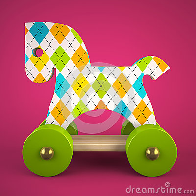 Free Wood Toy Horse On Purple Background Stock Photos - 34694903