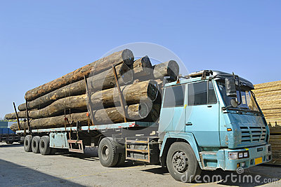 Wood transportation truck