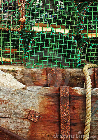 Wood trunks supporting fishing traps
