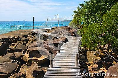Wood walk way to sea . Island Koh Kood, Thailand .