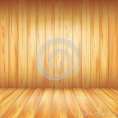 Wood wall and floor, vector background