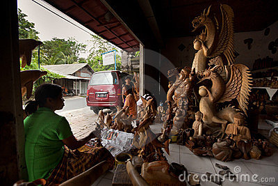 Woodcarver workshop on Bali Editorial Image