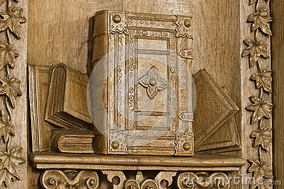 Woodcarving of the Bible