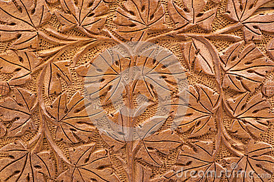 Woodcarving of branches and leaves