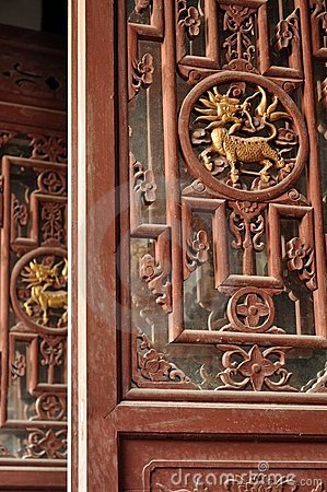 Woodcarving of chinese dragon