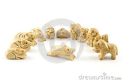 Porc (signe chinois de sculpture sur bois)