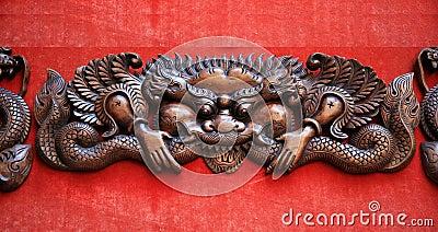 Woodcarving dragon