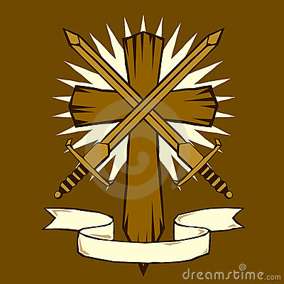 Woodcut cross with swords