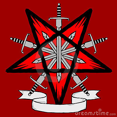 Woodcut pentagram with swords