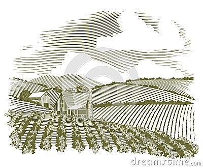 Woodcut Rural Farm House