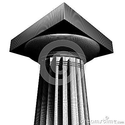Woodcut style archaic doric column