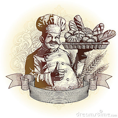 Woodcut style baker with bread
