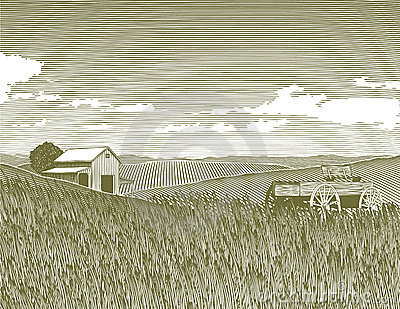 Woodcut Vintage Farm