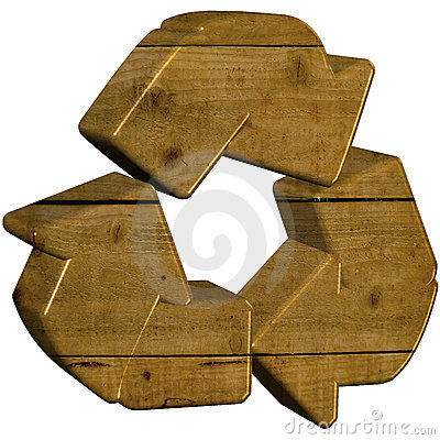 Wooden 3d recycle symbol
