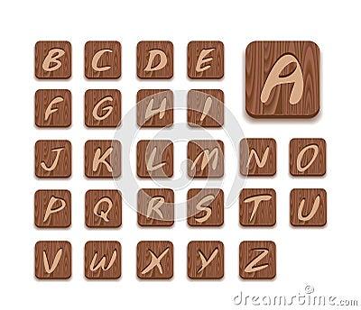 Wooden Alphabet Icon Set