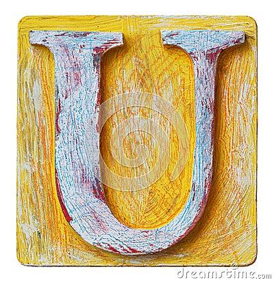 Free Wooden Alphabet Letter U Royalty Free Stock Image - 94108106