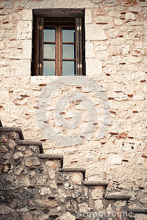 Free Wooden And Glass Window In A Stone Wall With Stairs Stock Image - 46651471