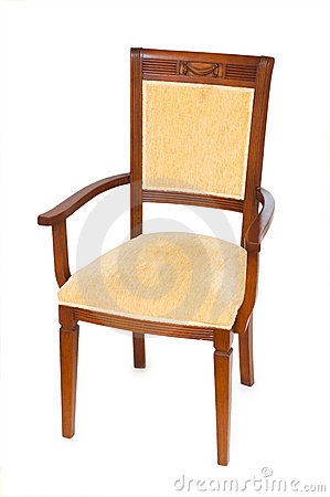 Wooden arm chair isolated