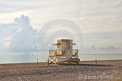 Wooden Art Deco Baywatch Huts at the l beach