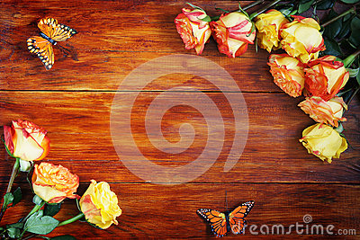 Wooden Background Decorated with Flowers