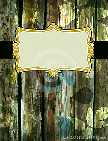 Wooden background with decorative  labels, vector