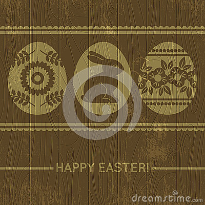 Wooden background with easter eggs, vector
