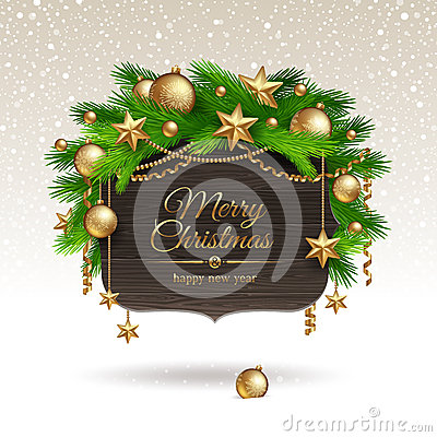 Wooden banner with Christmas decoration
