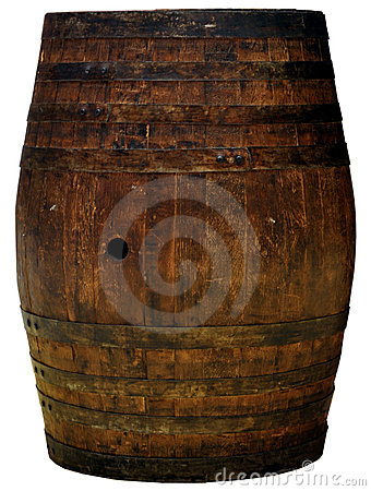 A wooden barrel cutout isolated