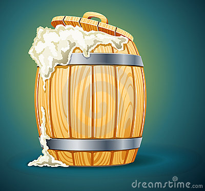 Wooden barrel full of beer with foam