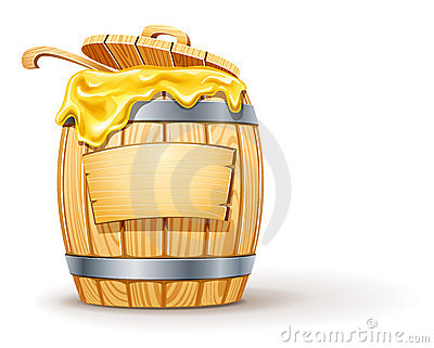 Wooden barrel full of honey
